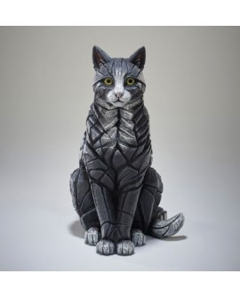 CAT SITTING BLACK/WHITE BY EDGE SCULPTURE