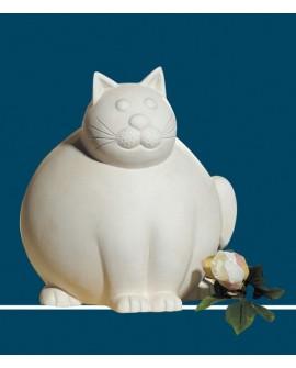 SCULPTURE CAT FAT CERAMIQUE