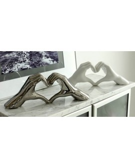 SCULPTURE CERAMIQUE MAIN COEUR CHROME