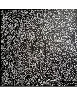 """TOILE LORADO """"ESPRIT BASQUIAT"""" 60X60 cm"""