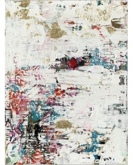 TOILE ABSTRACT WHITE 90X120 CM CREATION