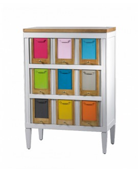 COMMODE 5 TIROIRS BLANCHE COL. LES COLORISTES