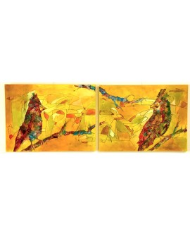 DIPTYQUE LET'S BE BIRDS 91 x 244 cm ALINE CHEVALIER